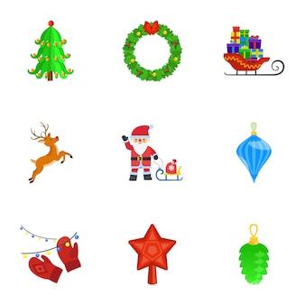 Christmas set, flat style