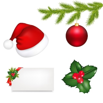 Christmas set from cap of santa claus holly berry branch illustration isolated