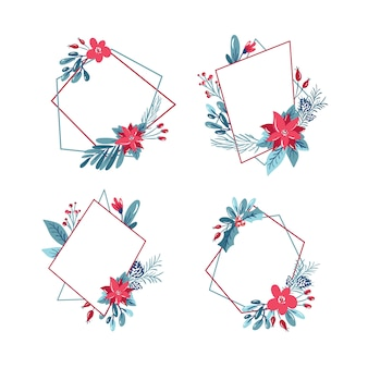 Christmas set of geometric polygon frame with bouquet wreath