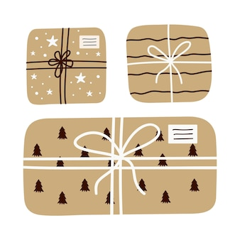 Christmas set of gifts in craft paper with twine ribbon