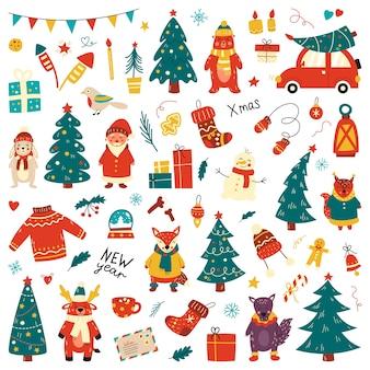크리스마스 세트, 손으로 그린 스타일-서예, 동물 및 기타 요소. .