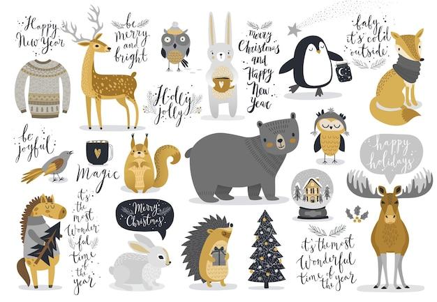 クリスマスセット手描き風書道動物やその他の要素