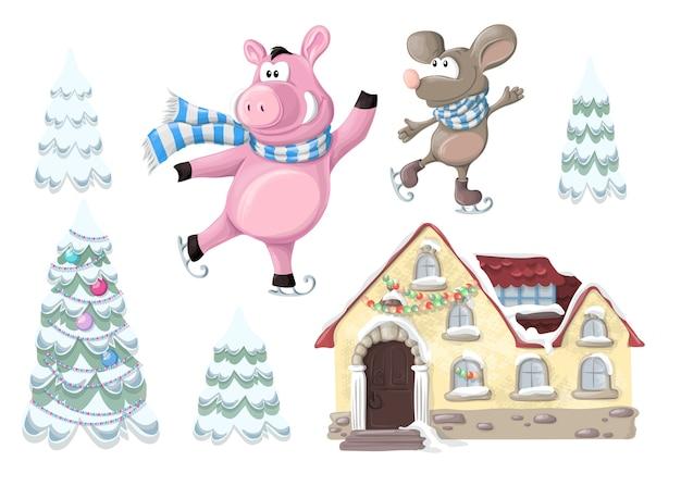 Christmas set - a house, a pig and a christmas tree.