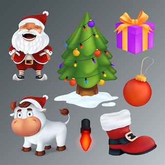 Christmas set includes a tree, gift box, red boot, garland lamp, ball, santa claus, white bull - a symbol of the year.  group of cartoon characters and decorations isolated on a grey background