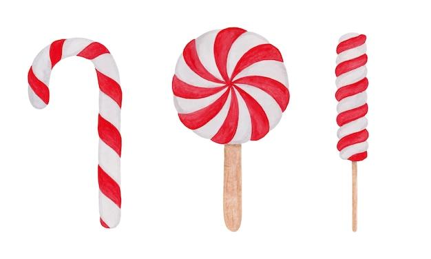 Christmas set of lollipops cane watercolor