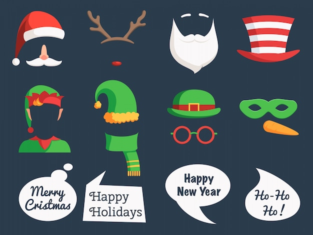 Christmas set mask and speech bubbles