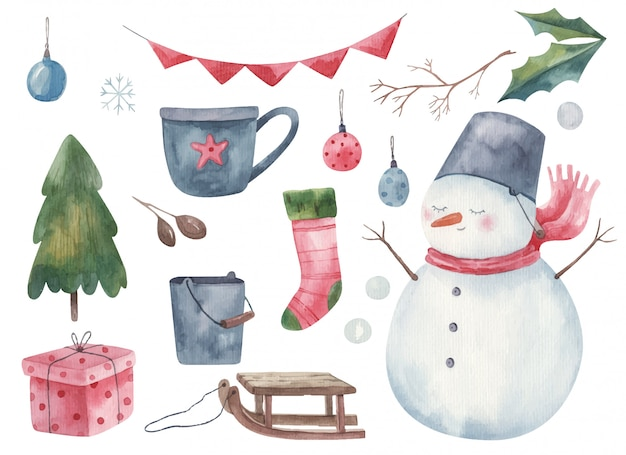 Новогодний набор новогодний со снеговиком, елкой, рождественским носком, санками, елочными игрушками, акварельной иллюстрацией