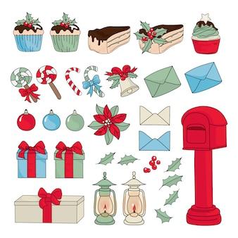 Christmas set new year color illustration set