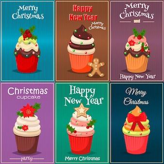 컵 케이크와 머핀 벡터의 크리스마스 세트