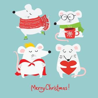 Рождественский набор различных рождественских символов года крысы, подарков и прочего в мультяшном стиле