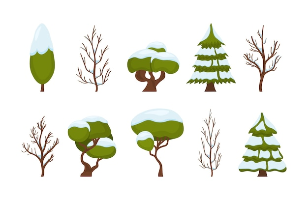Рождественский набор зеленых деревьев на белом фоне