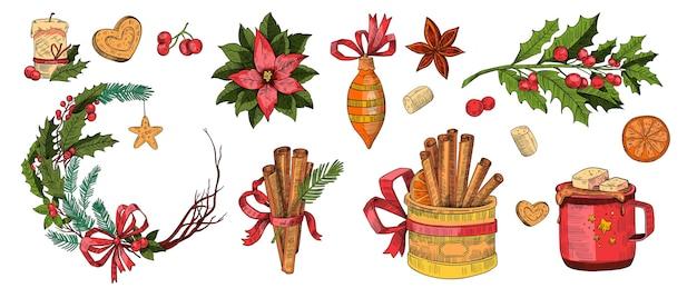 Рождественский набор праздничных зимних элементов в винтажном стиле гравюры, изолированные на белом. рождественский праздничный сборник с шоколадной кружкой, зефиром, палочками корицы, венком, пуансеттия, падубом, свечой