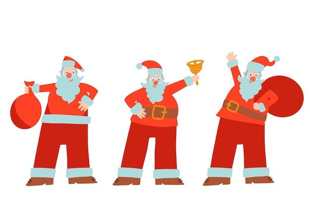 フラットベクトル漫画スタイルのさまざまな位置にツリーサンタクロースサンタのクリスマスセット
