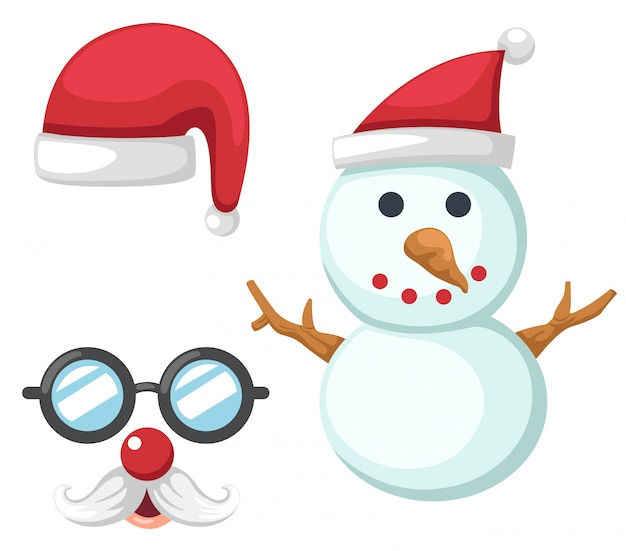 Christmas set red santa claus hat,snowman,glasses and mustache isolated illustration