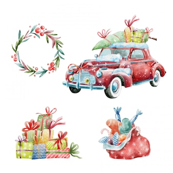 Christmas set of retro car and decorations