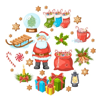 Christmas set. santa claus, socks, presents, lantern, cacao, cookies, candles, sledge, toys, gifts