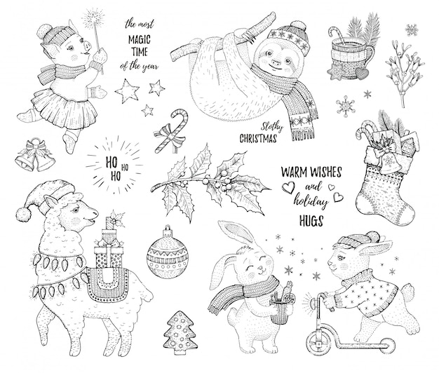 Christmas set of sketch cartoon animals.