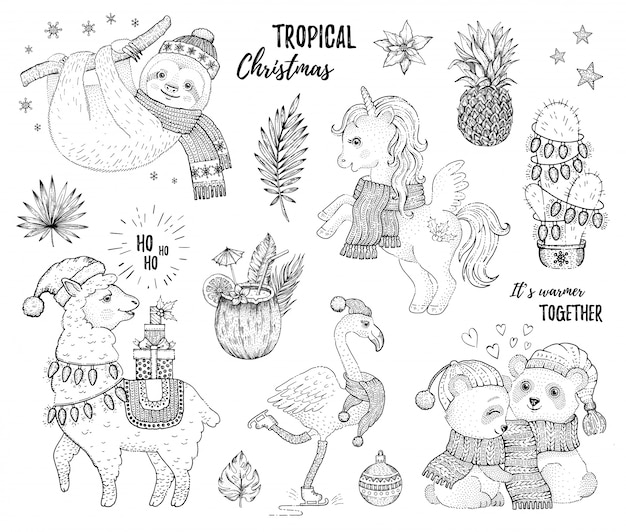 Christmas set of sketch tropical animals.
