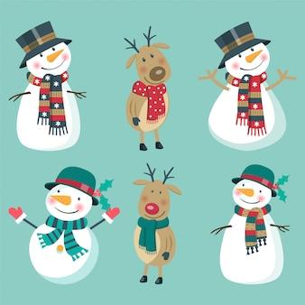 Christmas set of snowmen and deer.