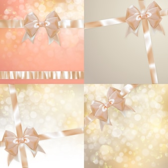 Christmas set of sparkle background with light bow.