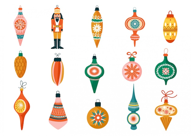 Christmas set of various tree decorations.