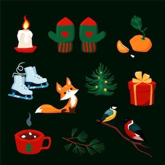 漫画の新年のキャラクターとクリスマスセット。グリーティングカードのデザインのためのクリスマス要素のカラフルなコレクション。レトロなスタイルの森の動物、ミトン、冬の休日のオブジェクト。図