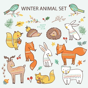 Christmas set with cute forest animals. collection