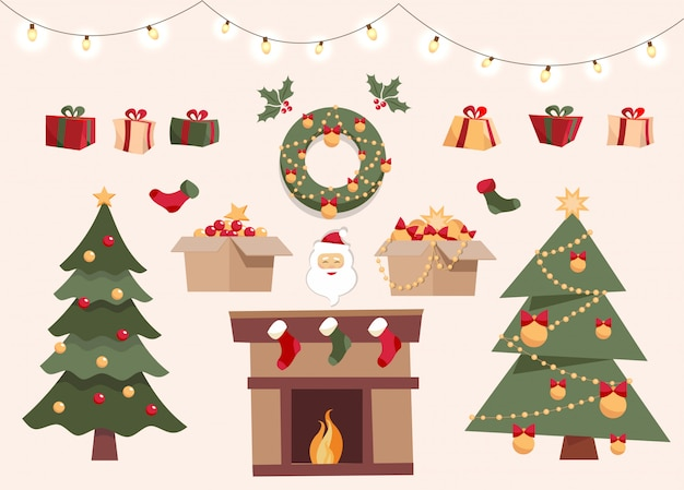 Christmas set with decorative elements, two different xmas trees, toys in boxes, gift boxes, balls, garlands, santa claus, christmas socks, wreath