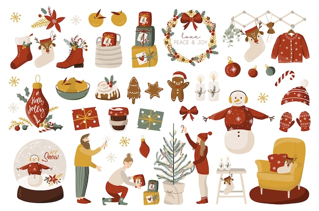Christmas set with elements.