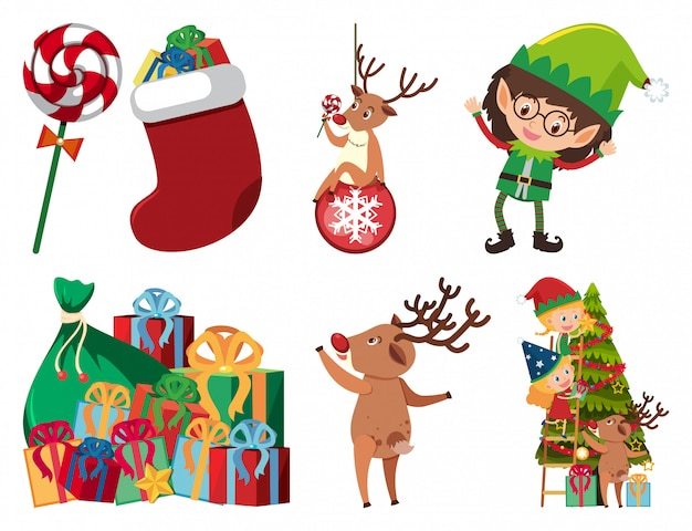 Christmas set with elf and presents