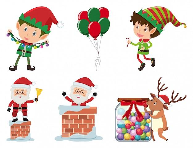Christmas set with elf and santa