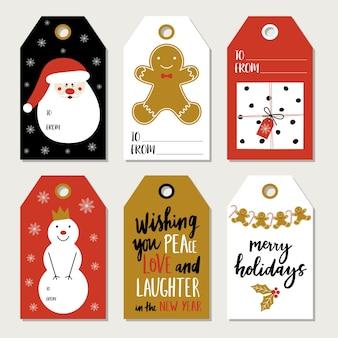 Рождественский набор с подарочными бирками.