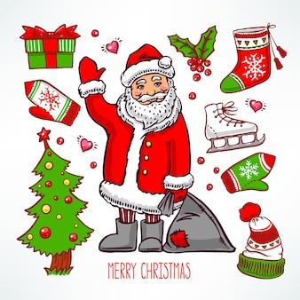Рождественский набор с праздничными атрибутами и улыбающимся санта-клаусом. рисованная иллюстрация
