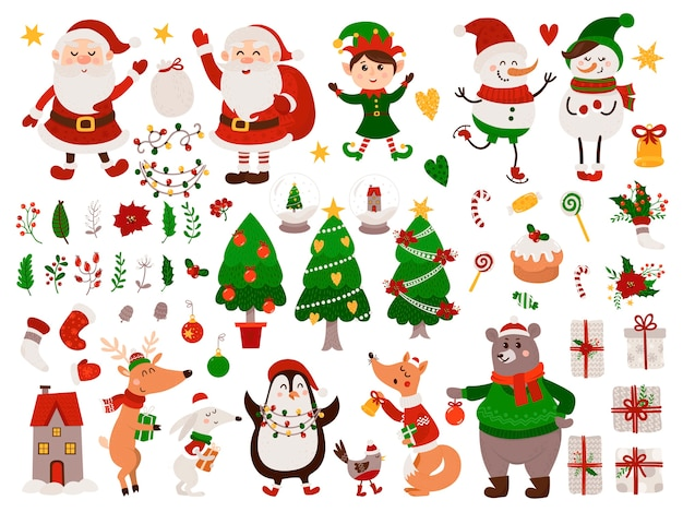 Christmas set with isolated animals, gnome, santa claus