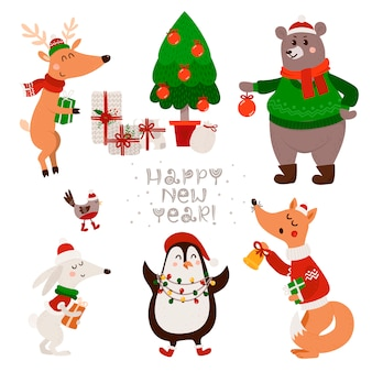 Christmas set with isolated cute forest animals
