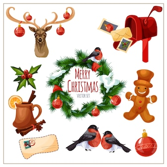 Christmas set with isolated design elements