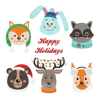 Christmas set with isolated face animals