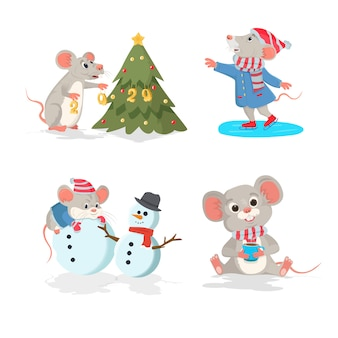 Christmas  set with the mouse. ice skating mouse, mouse with christmas tree, mouse with coffee cup.