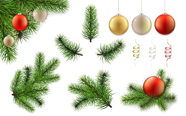 Рождественский набор с ветвями сосны и елочными шарами. элементы для поздравительных открыток.