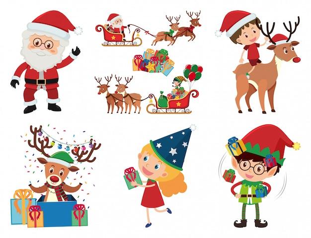 Christmas set with santa and kids