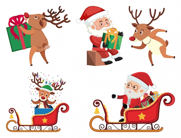 Christmas set with santa and reindeer
