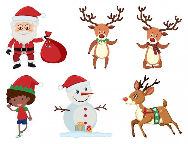 Christmas set with santa and reindeer