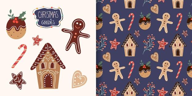 シームレスなパターンとクリスマスグッズ、ジンジャーブレッドコレクション、冬のデザインのクリスマスセット