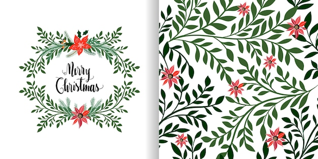 Christmas set with seamless pattern and greeting card, floral wreath, seasonal winter design