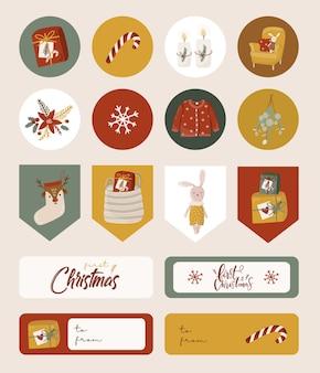 ステッカーとラベルが付いたクリスマスセット。