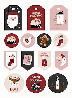 Рождественский набор с наклейками и этикетками.