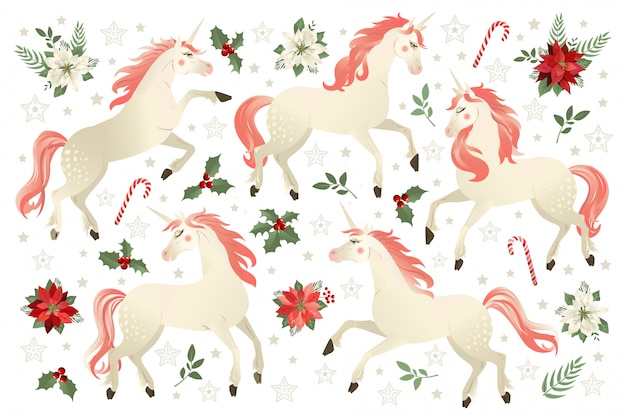 Christmas set with unicorn vector illustration on poinsettia flower background.