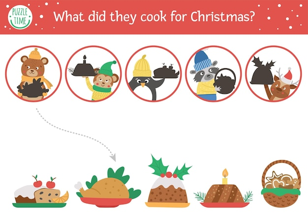 Christmas shadow matching activity for children. winter puzzle with cute animals and traditional food. new year educational game for kids. find the correct silhouette printable worksheet.