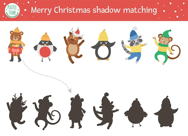 Christmas shadow matching activity for children winter puzzle with cute animals in warm clothes