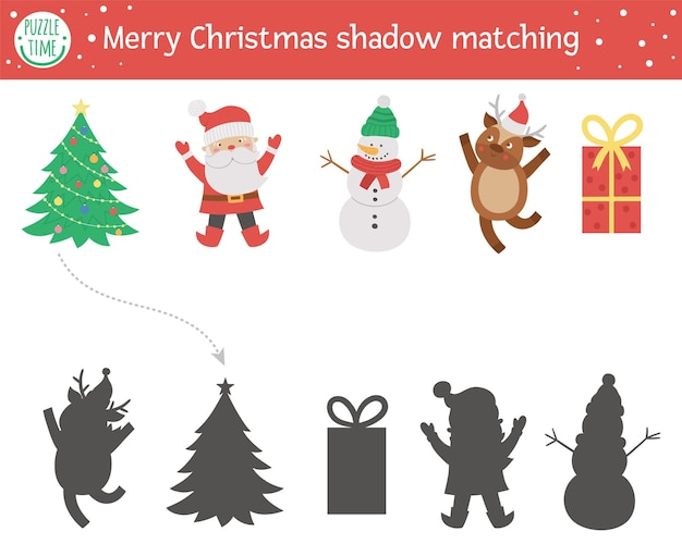 Christmas shadow matching activity for children winter puzzle with tree snowman deer present